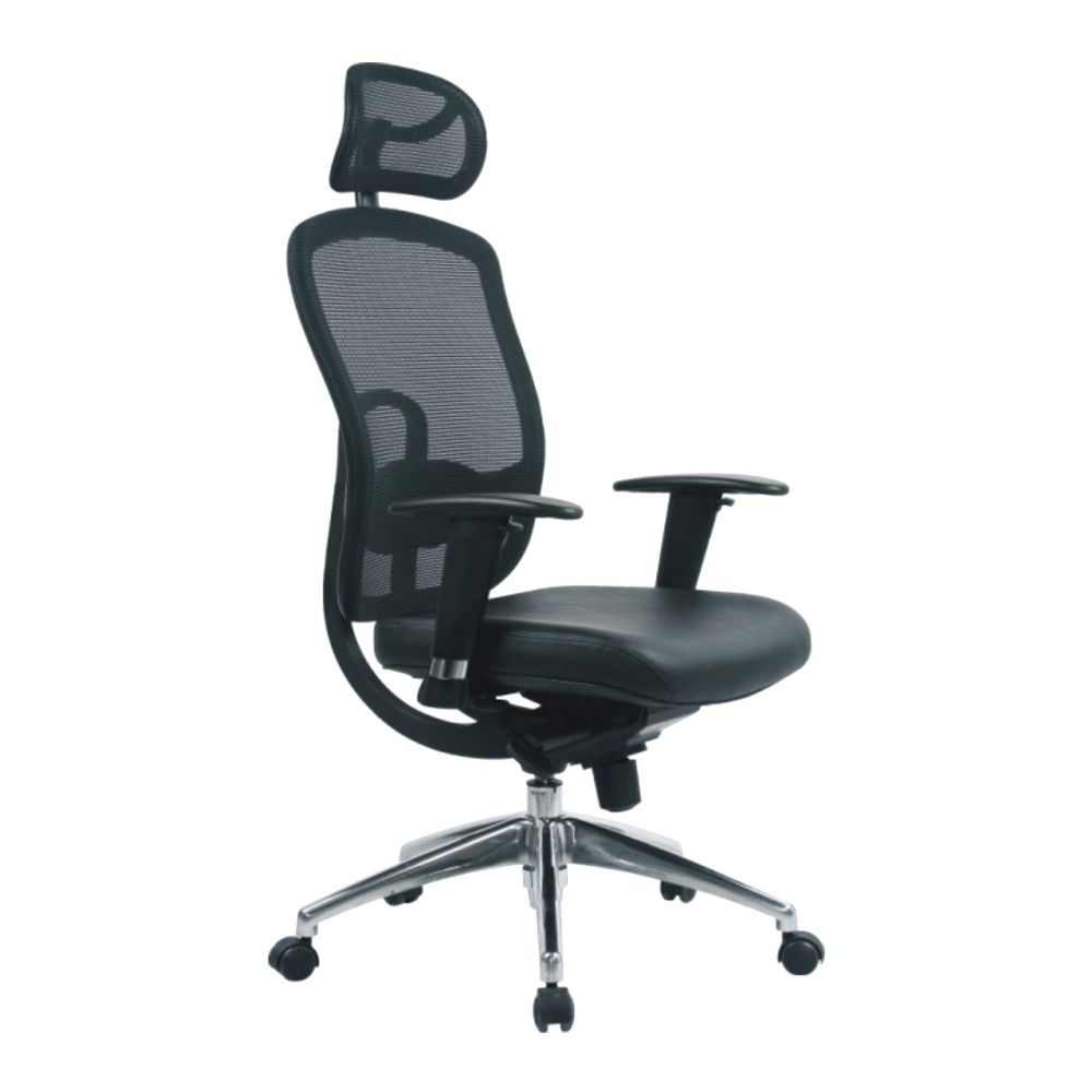 Liberty High Back Executive Mesh Chair, Lumbar Support, Integrated Headrest. Black